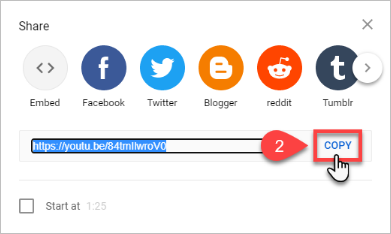 Copy video URL from the Share menu