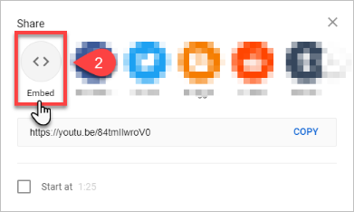 Select the Embed button from the Share menu