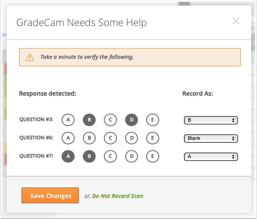 Select and Verify Student Responses