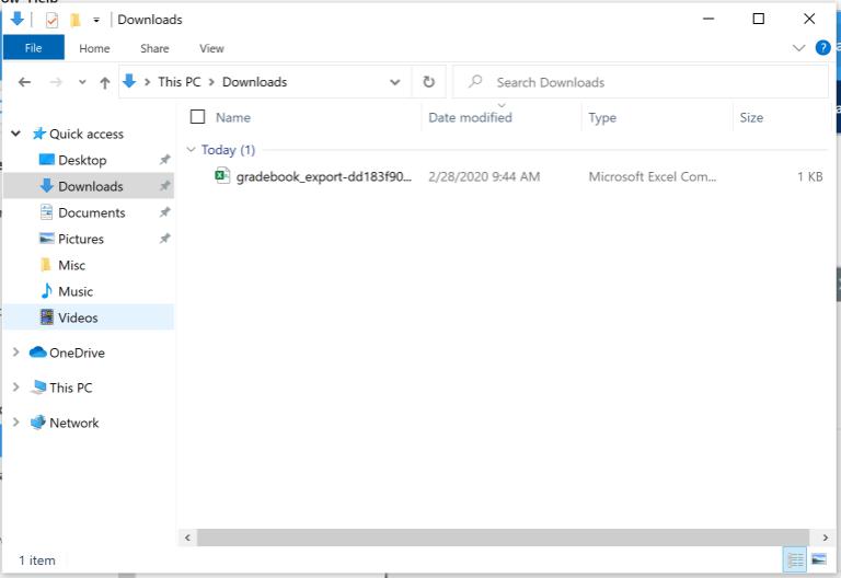 File appears in downloads folder
