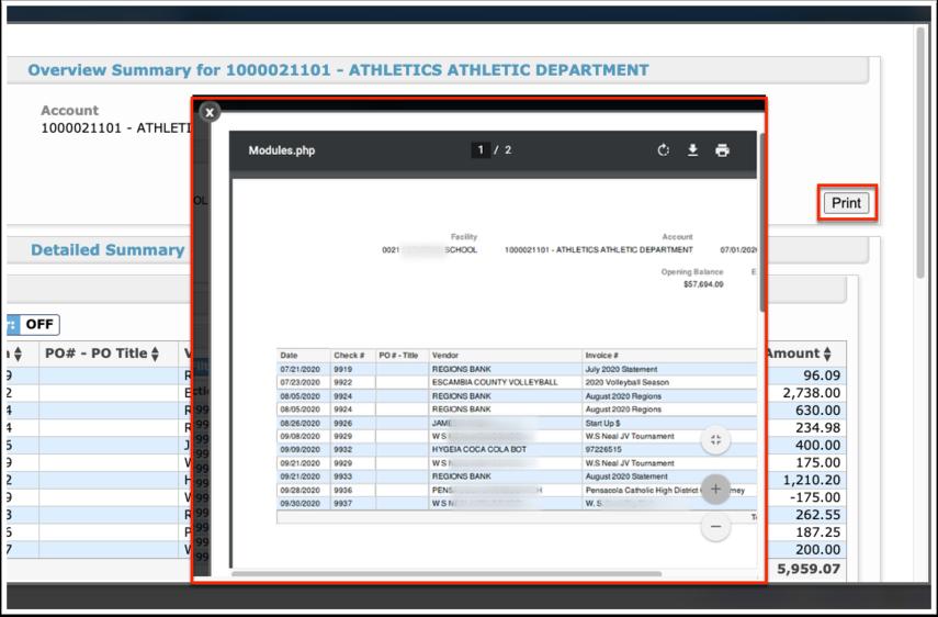 Internal Accounts Activity Report