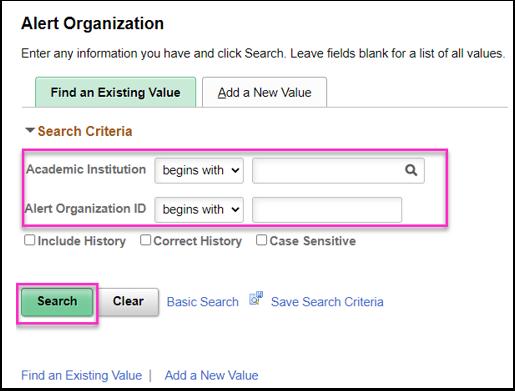 Alert Organization search page