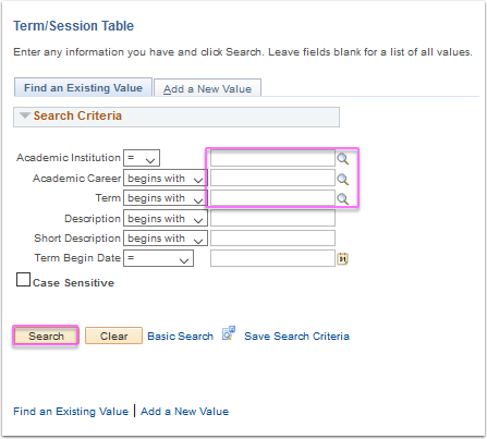 Term/Session Table search page