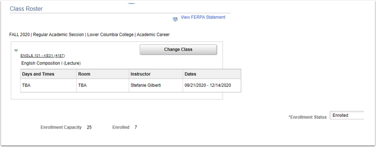 Class roster page
