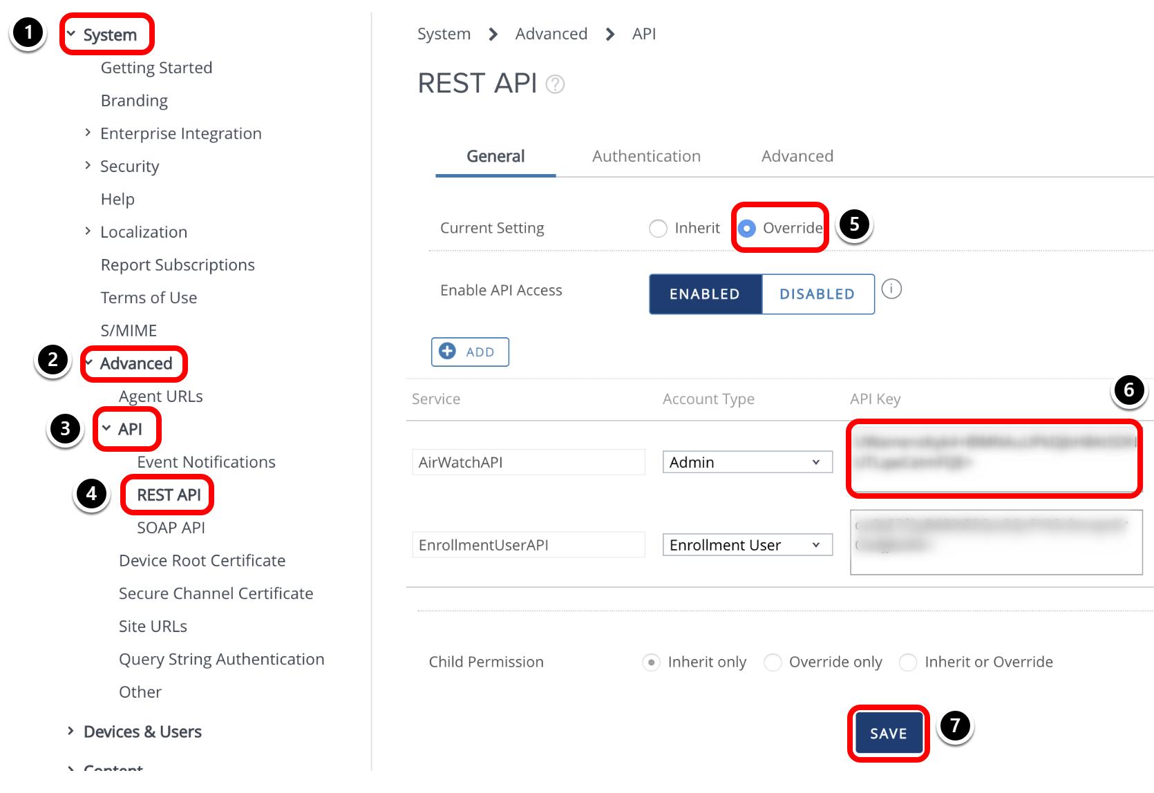 Obtaining REST API Key (workspace one intelligence documentation, workspace one intelligence docs, change dashboard windows 10, intelligence reporting)