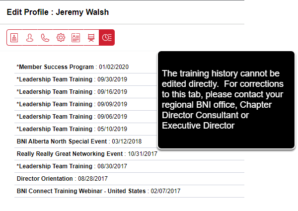 The Training History Tab