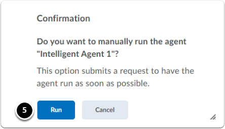 confirmation pop up window. Click blue button to Run.