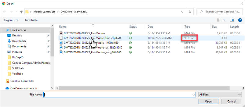Navigate to the VTT file on your computer or storage device and select it