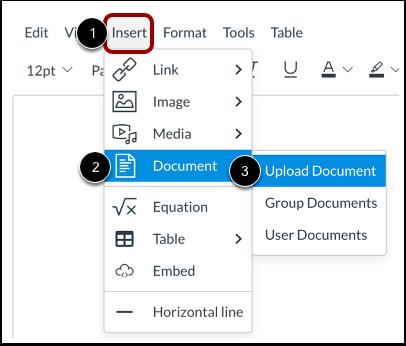 Importer un document à l'aide de la barre de menus