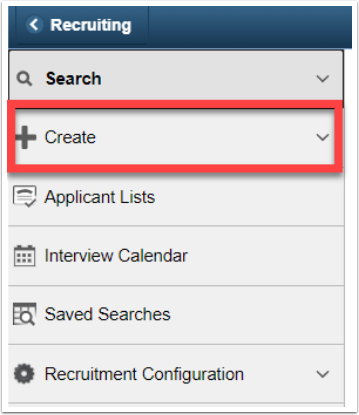 Recruiting navigation, Create menu