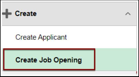 Create Job Opening menu