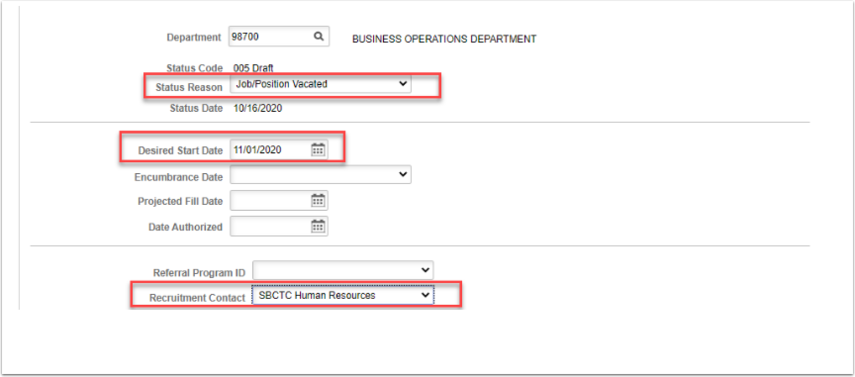 Department, status code and status date page