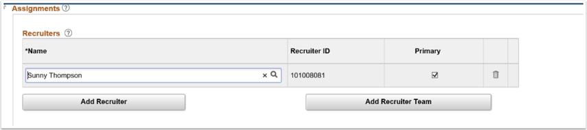 Recruiters section