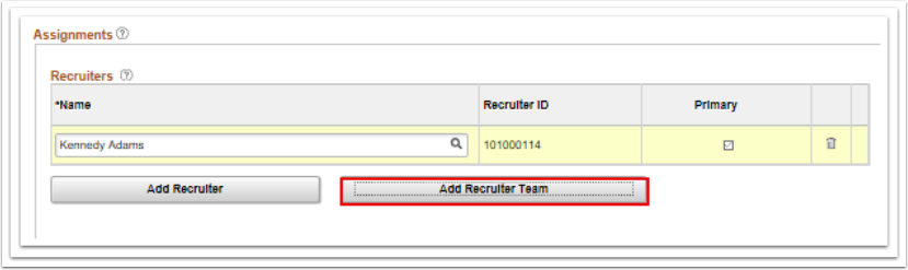 Add Recruiter name section