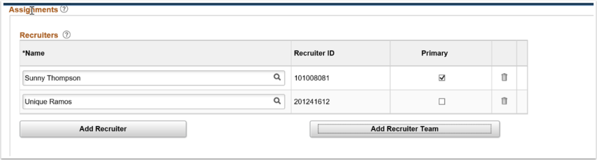 Recruiters Names section