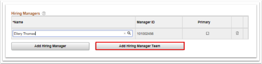 Hiring Managers name page