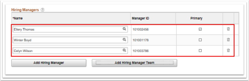 Hiring Managers names page