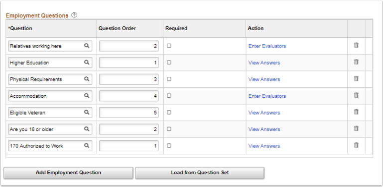 Employment Questions page