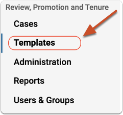 Choose Templates from the Interfolio home page