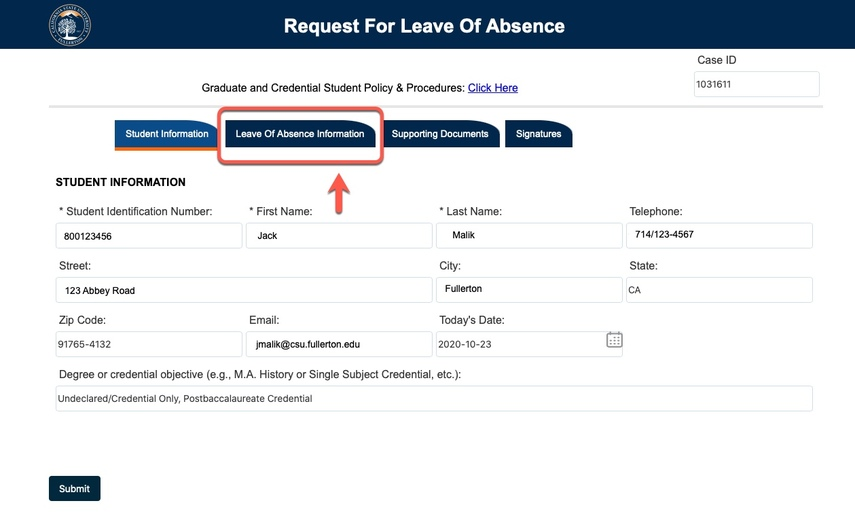 Arrow pointing to Leave of Absence Information tab