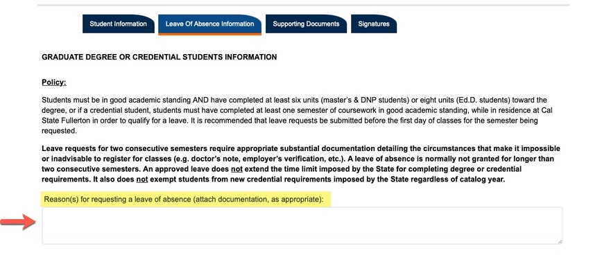 Arrow pointing to Reasons for requesting leave of absence field
