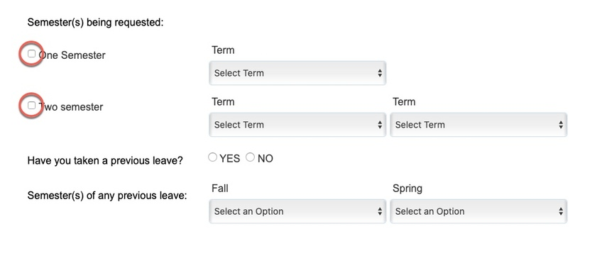Arrow pointing to Semesters being requested options