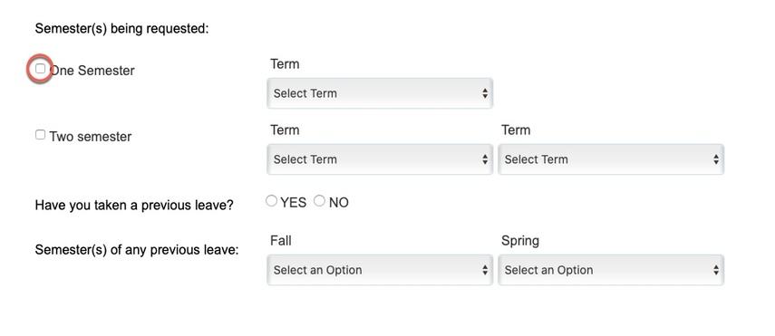 Circle highlighting One Semester option