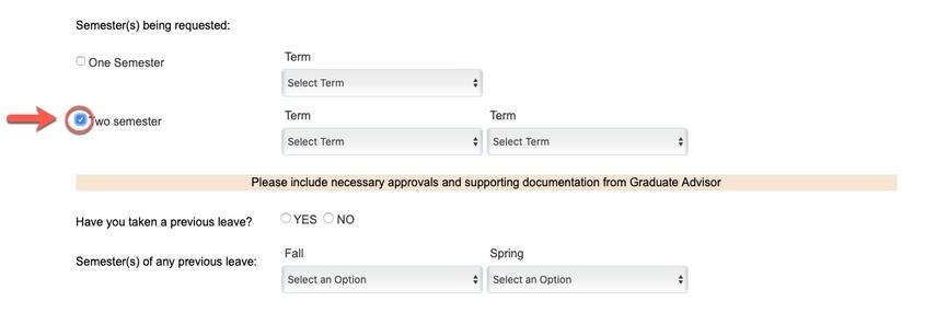 Circle highlighting Two Semester option