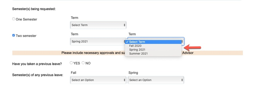 Arrow pointing to term options
