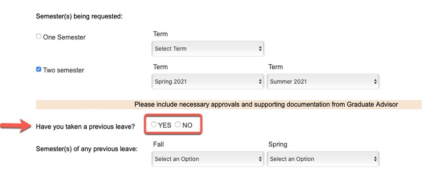 Arrow pointing to previous leave option