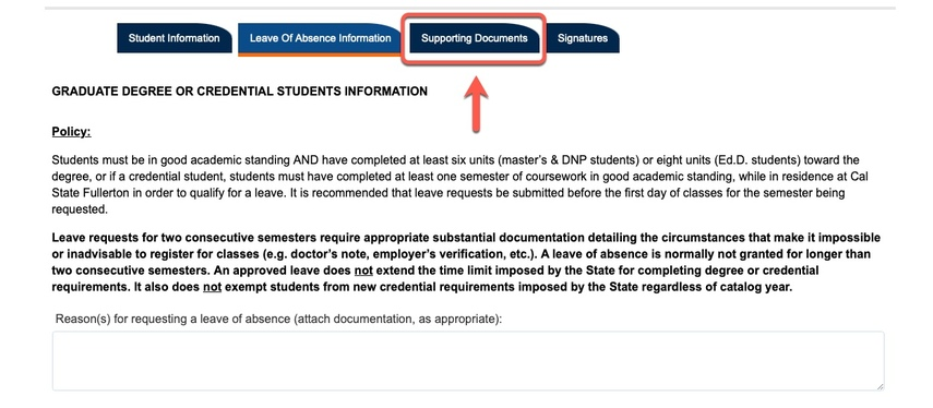 Arrow pointing to Supporting Documents tab
