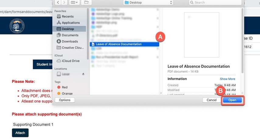 Uploading document screen