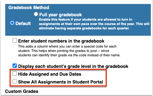 Gradebook Configuration