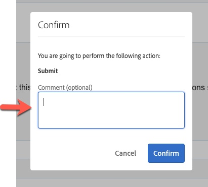 Arrow pointing to Comment field