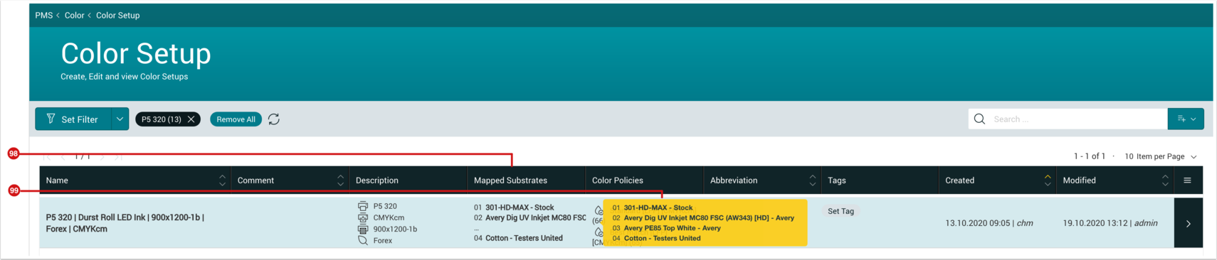 PMS WebGui :: Color Setup