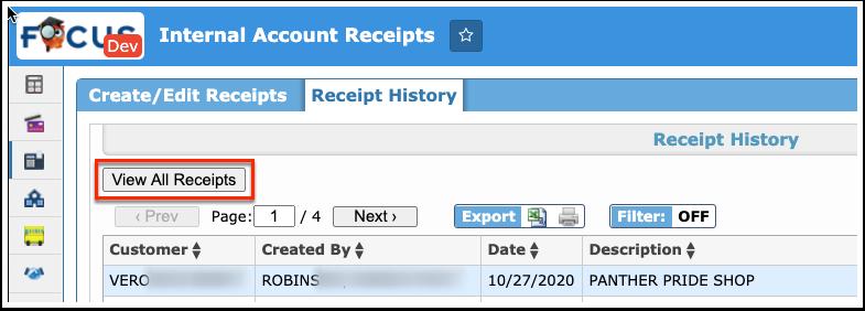 Internal Account Receipts