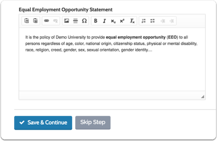 """Enter an Equal Employment Opportunity Statement, and click """"Save & Continue"""""""
