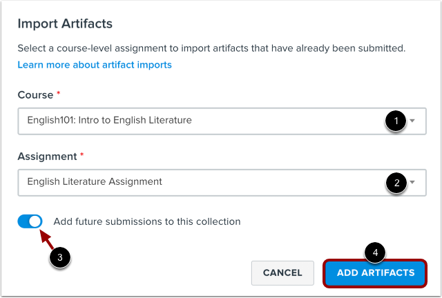 Import Artifacts from Course