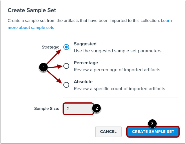Define Sample Set Strategy