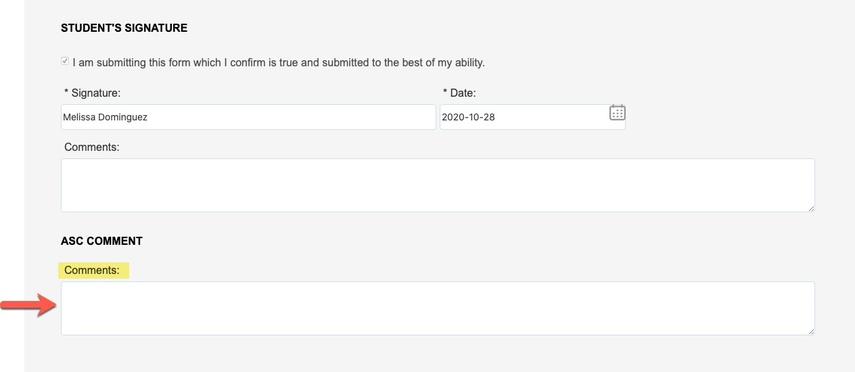 Arrow pointing to Comments field