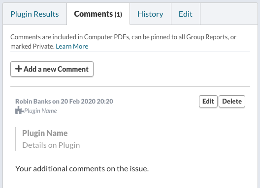 View Comment Associated with a Plugin