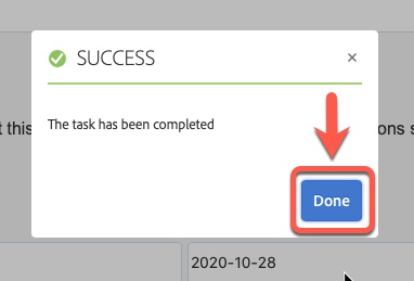 Arrow pointing to the Done button