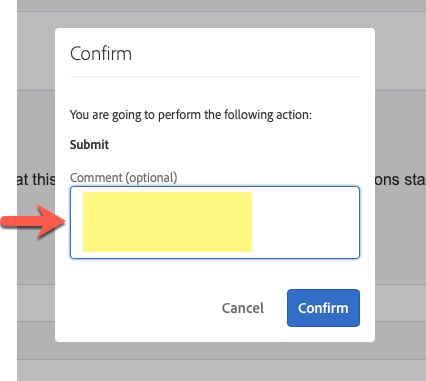 Arrow pointing to Comments (optional) field