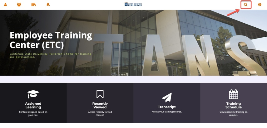 Employee Training Center home page