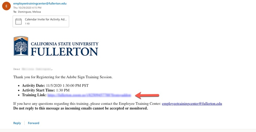Registration Confirmation email, pointing to zoom link