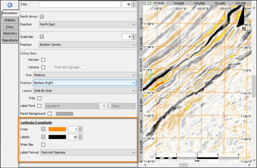 Display the latitude/longitude grids in map
