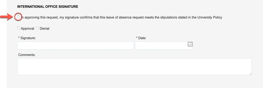 Arrow pointing to University Policy stipulations checkbox