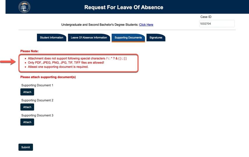 attachment requirements