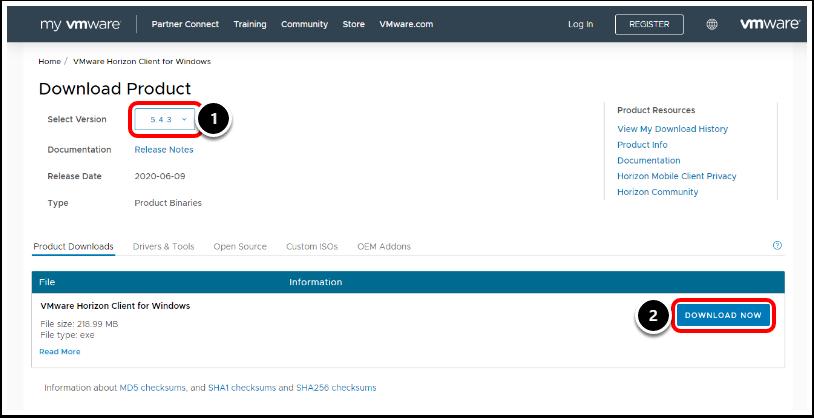 Download the Horizon Client exe Installer