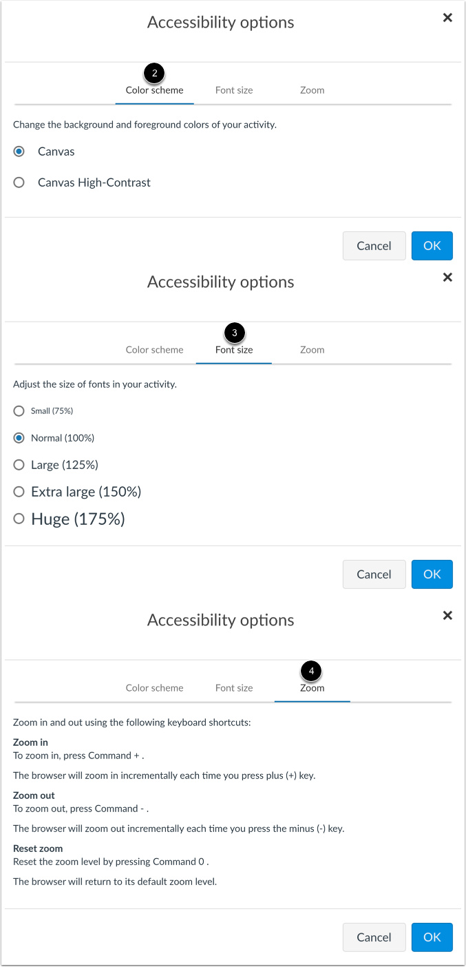 View Accessibility Options